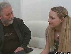 Lovely youthful female gets nasty and luvs sex with old fucker