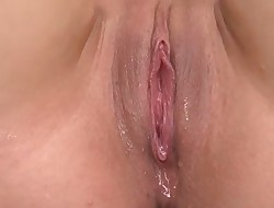 Horny wet cunt Oriental squirts on a overweight ramrod when inserted