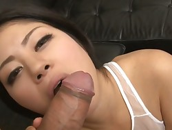 Aged Oriental with large  buddies shares her puss with several studs