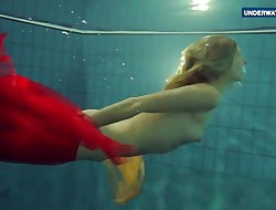 Yellow and Red clothed nubile underwater