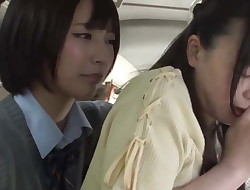 Asian Student Lezzie and Educator on Public Bus