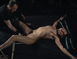 Teen slave spanked with whip in fetish porno video